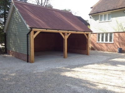 2 Bay Double Cart Lodge completed 2015, in Bury St Edmunds, with composite boarding.
