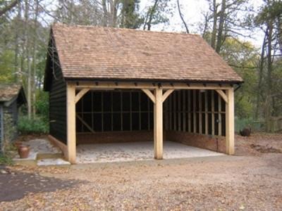 2 Bay Timber Garage built by Suffolk Cart lodges in Bury St Edmunds Suffolk.