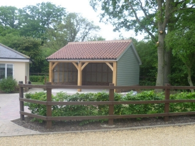 2 Bay Timber Garage built in Norton, completed 2014 by Suffolk Cart Lodges.