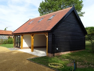Home Office as Garden Room on 2 Bay Cart Lodge. Norfolk