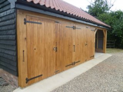 Oak frame Garage with 1 Open bay, 2 oak garages and a room over in Mickfield