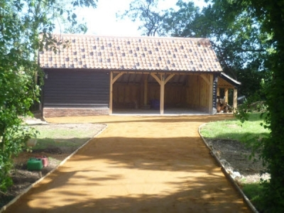 3 Bay Timber Framed Cart Lodge with Log Store. Combs, Stowmarket