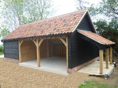 3 Bay Timber Garage with Workshop & pan tile roof. Stowmarket