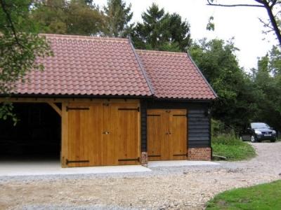 3 Bay Cart Lodge Garage with 1 Open bay, 1 garage and 1 workshop in Mendlesham, Suffolk. Built by Suffolk Cart Lodges