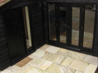 Tiled Door step into Home Office in Cart Lodge